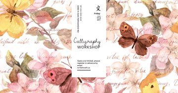 Calligraphy workshop with butterflies painting