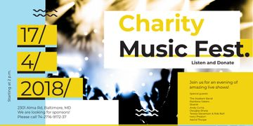 Charity Music Fest Invitation with Crowd at Concert