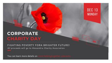 Corporate Charity Day announcement on red Poppy