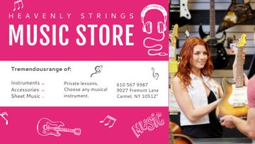 Music Store Ad Seller with Guitar