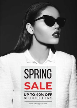 Spring sale with woman in sunglasses