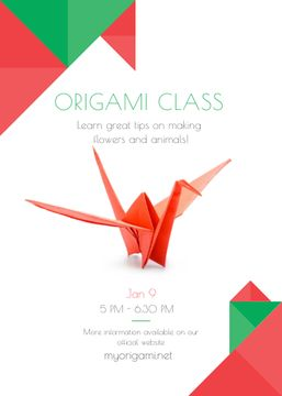 Origami Classes Invitation Paper Bird in Red