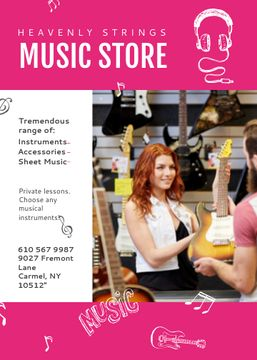 Music Store Ad Woman Selling Guitar