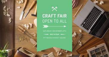 Craft fair Ad with Laptop and tools