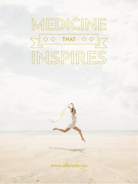medicine that inspires banner with young woman jumping on sandy beach