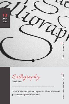 Calligraphy Workshop Announcement Decorative Letters
