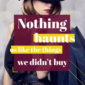 Shopping quote Stylish Woman in Hat