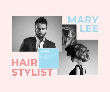 Hair Salon Ad Woman and Man with modern hairstyles