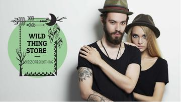 Fashion Store Ad with Young Couple in Black Outfits