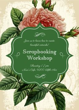 Scrapbooking workshop invitation on Rose flower