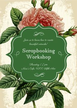 Scrapbooking workshop invitation on Rose flower