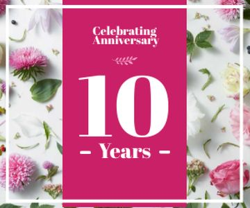celebrating anniversary poster with flowers