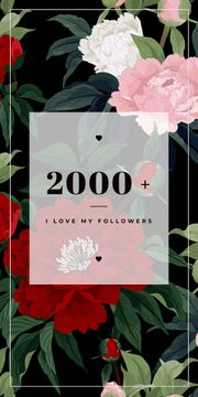 2000 followers poster on floral background