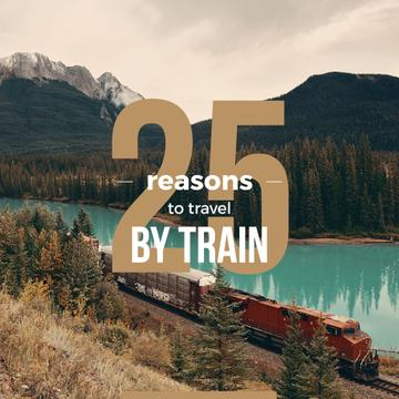 Train riding against of a Beautiful Mountain Landscape