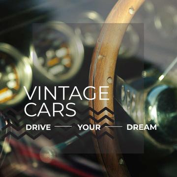 Shiny vintage car interior
