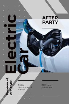 After Party invitation with Charging electric car