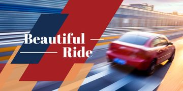Blurred red car driving fast on road with text beautiful ride