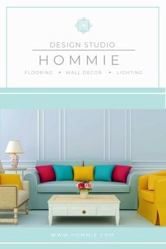 Home Design Ad Cozy Interior in Blue