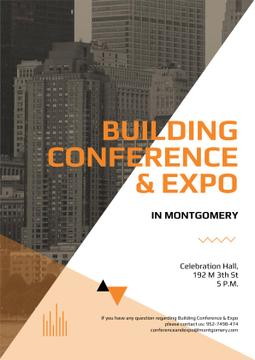Building Conference Announcement with Modern Skyscrapers
