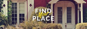 Find your place text with cozy house on background