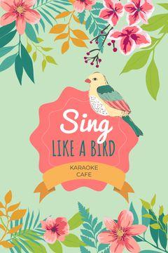 Karaoke Cafe Ad Cute Singing Bird in Flowers