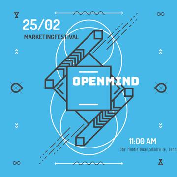 Marketing Festival invitation in Geometric Frame in Blue