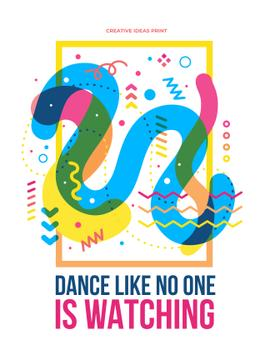 Dance party creative poster with quote