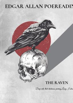 Artistic Poster with Raven Sitting on Skull