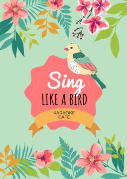 Karaoke cafe poster with cute bird