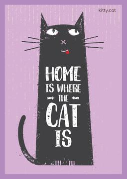 Cat Adoption Quote with Funny Cat in Purple