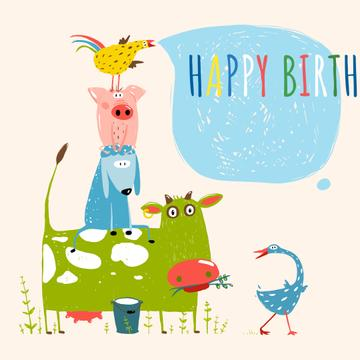 Happy birthday Greeting with Cute Animals