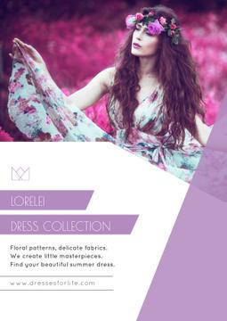 Fashion Ad with Woman in Floral Dress in Purple