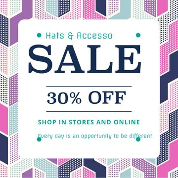 Fashion sale ad on geometric pattern