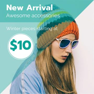 Winter Sale with Girl in hat and sunglasses