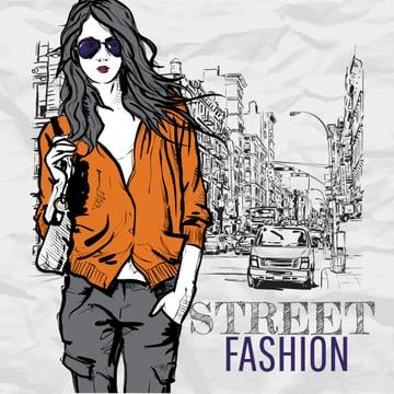 Illustration of Stylish Woman in the city