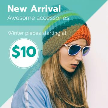 Fashion Sale Ad with Girl in hat and glasses
