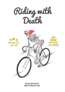 Cycling Event with Skeleton Riding on Bicycle