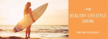 Summer Vacation Offer with Woman with Surfboard