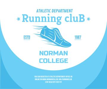Running club ad with Shoe in blue