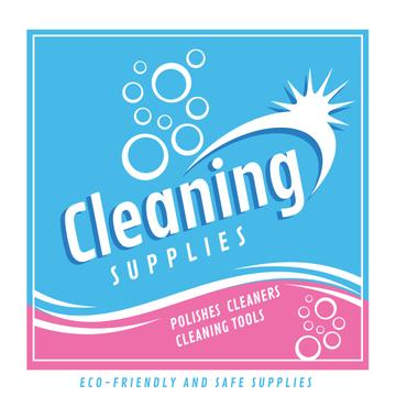 Cleaning Supplies Ad bubbles in blue