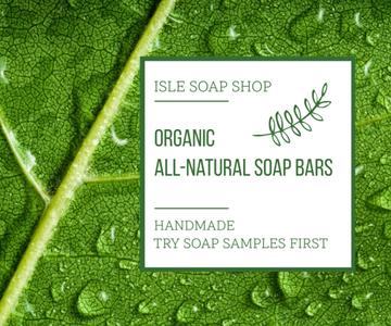 Organic Cosmetics Advertisement Drops on Green Leaf