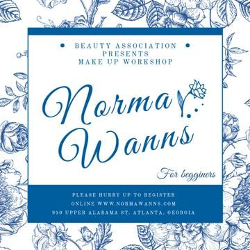 Beauty workshop advertisement with blue Flowers