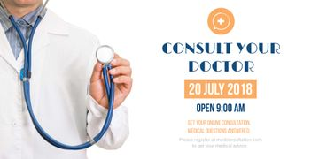 Consultation Announcement with Doctor with Stethoscope
