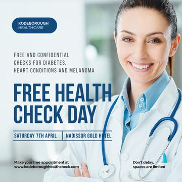 Free health Check Day Ad with Smiling Doctor