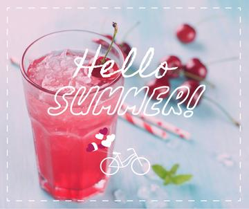 Summer Drink with Red Cherries