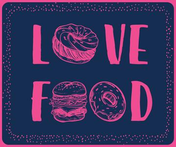 Love food inscription with fast food icons