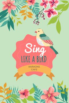 Karaoke Cafe Ad with Cute Singing Bird in Flowers