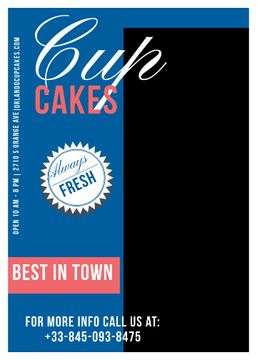 Cupcakes Cafe Ad in Blue