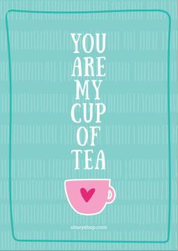 Love Quote Cup of Tea in Blue