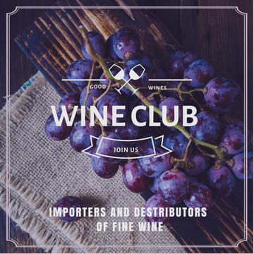 Wine club Invitation with fresh grapes